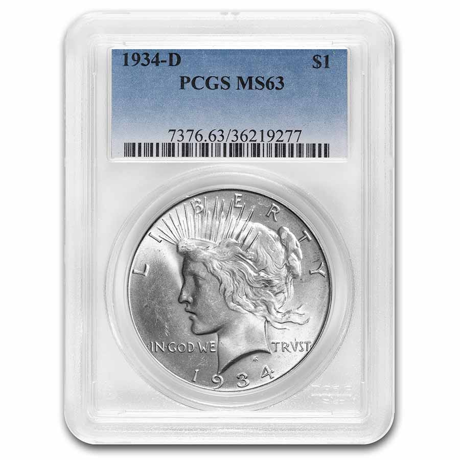 1934-D Peace Dollar MS-63 PCGS