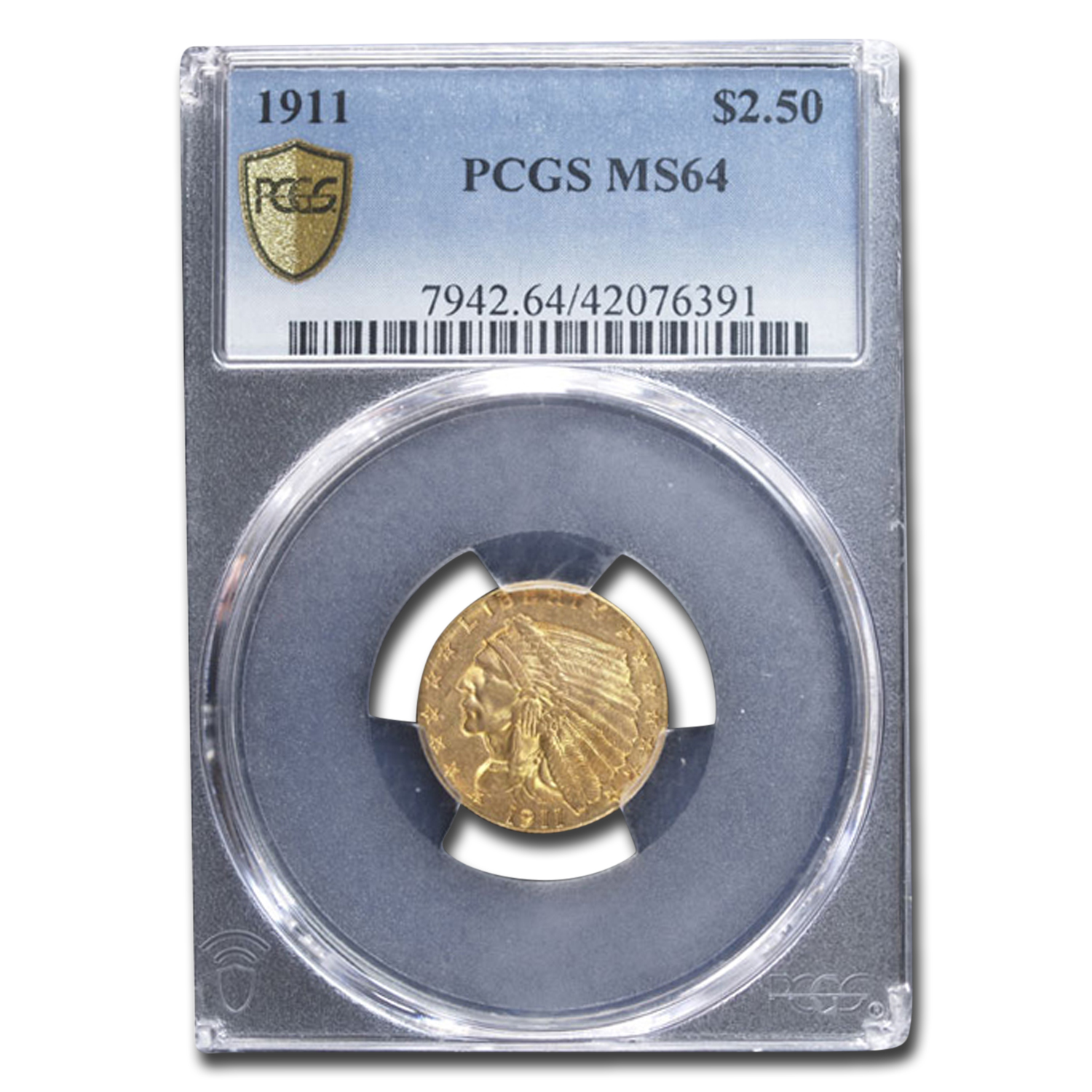 1911 $2.50 Indian Gold Quarter Eagle MS-64 PCGS