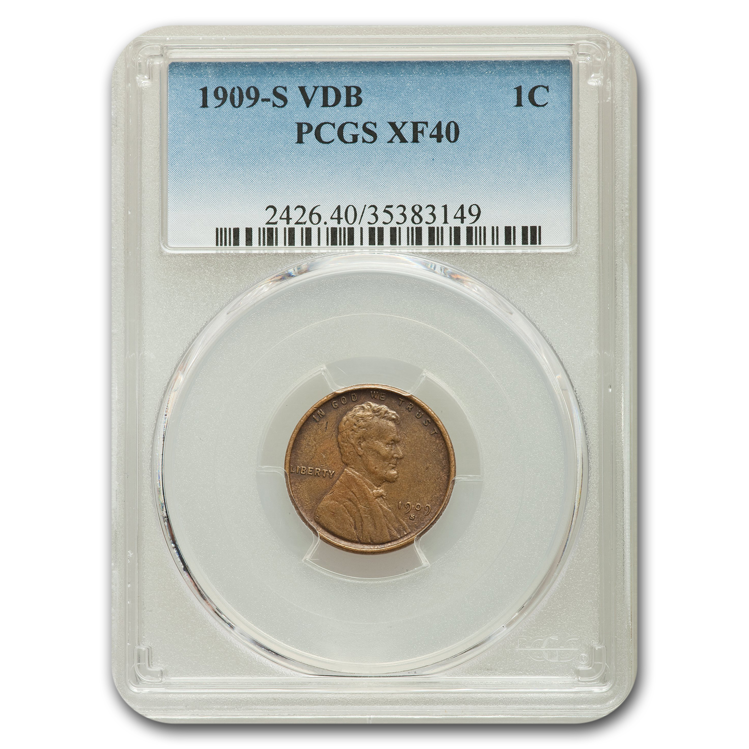 1909-S Lincoln Cent XF-40 PCGS (Brown)