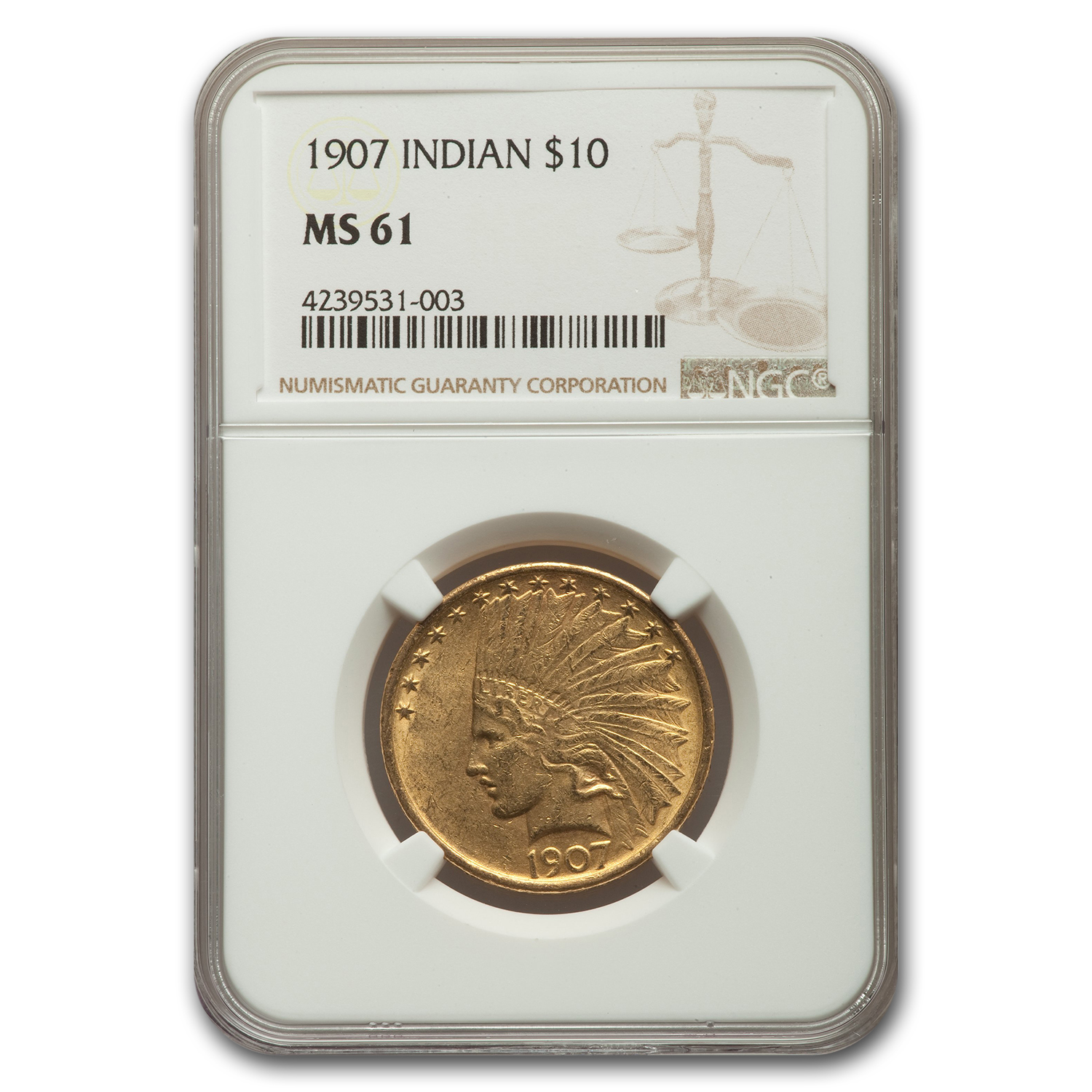 1907 $10 Indian Gold Eagle MS-61 NGC
