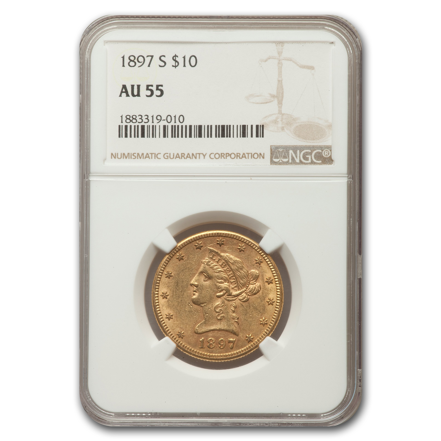 1897-S $10 Liberty Gold Eagle AU-55 NGC