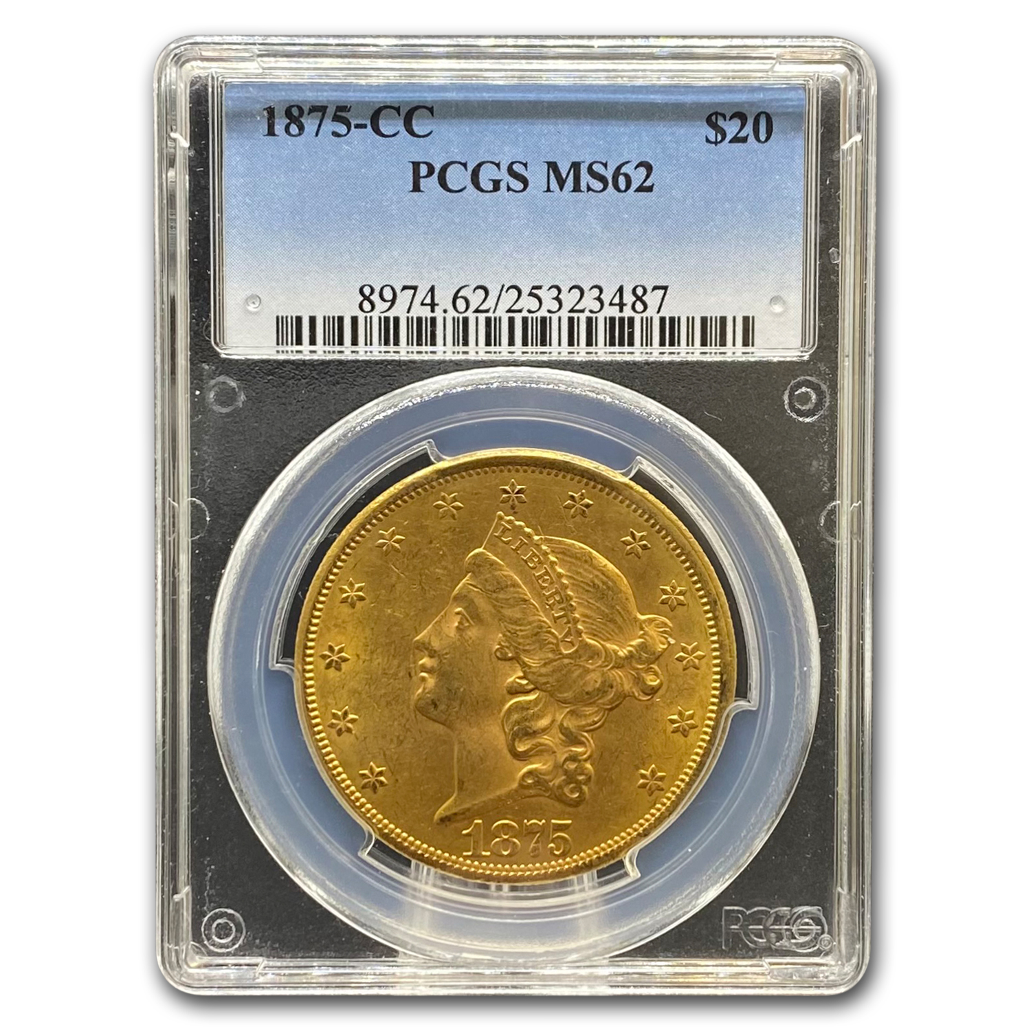 1875-CC $20 Liberty Gold Double Eagle MS-62 PCGS