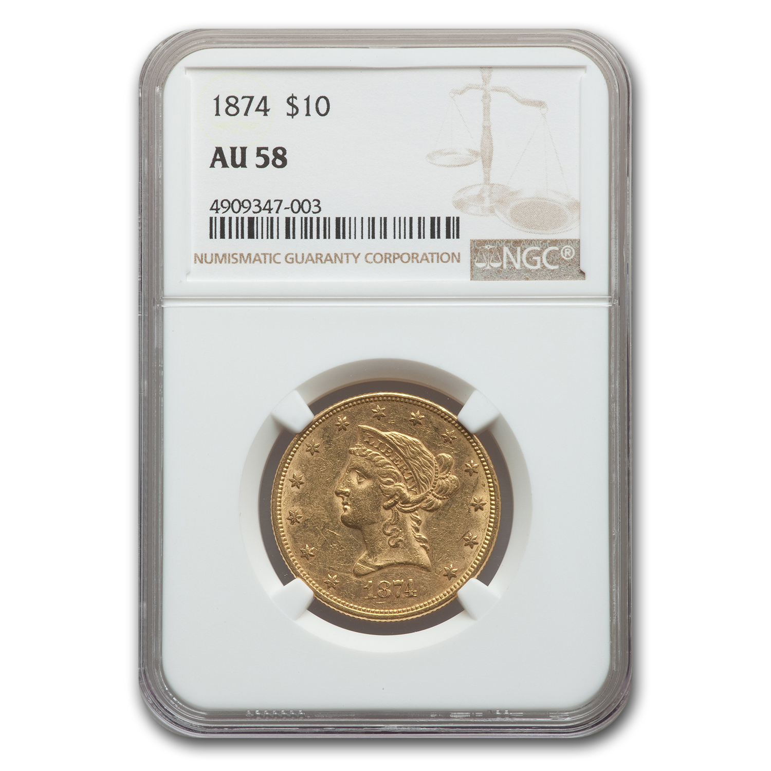 1874 $10 Liberty Gold Eagle AU-58 NGC