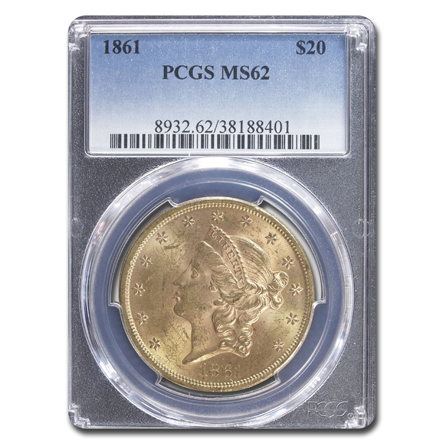 1861 $20 Liberty Gold Double Eagle MS-62 PCGS