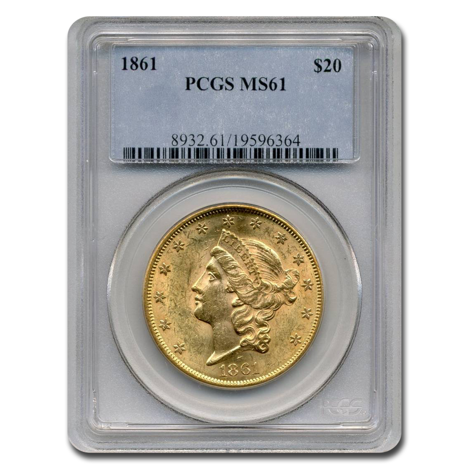 1861 $20 Liberty Gold Double Eagle MS-61 PCGS