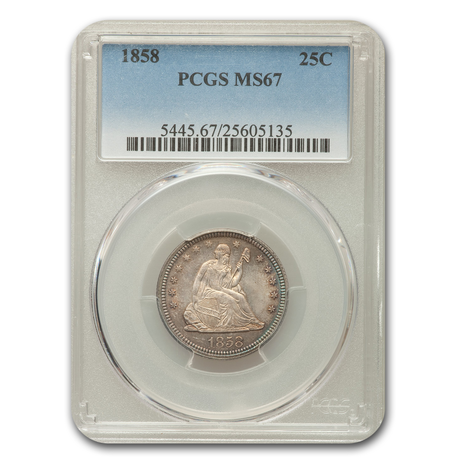 1858 Liberty Seated Quarter MS-67 PCGS