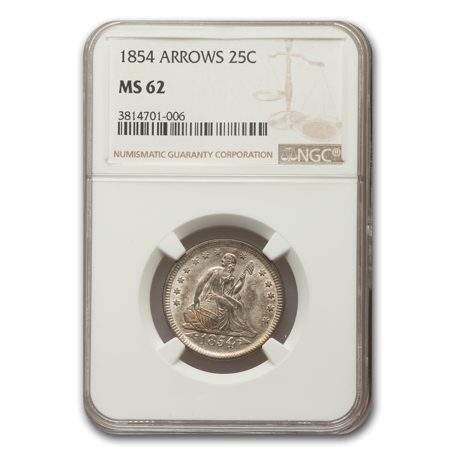1854 Liberty Seated Quarter MS-62 NGC