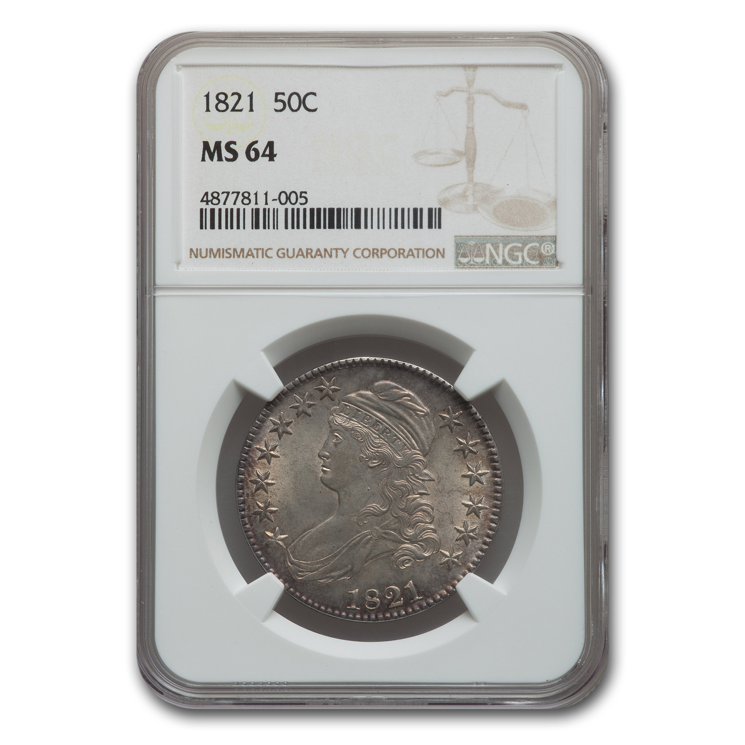 1821 Capped Bust Half Dollar MS-64 NGC