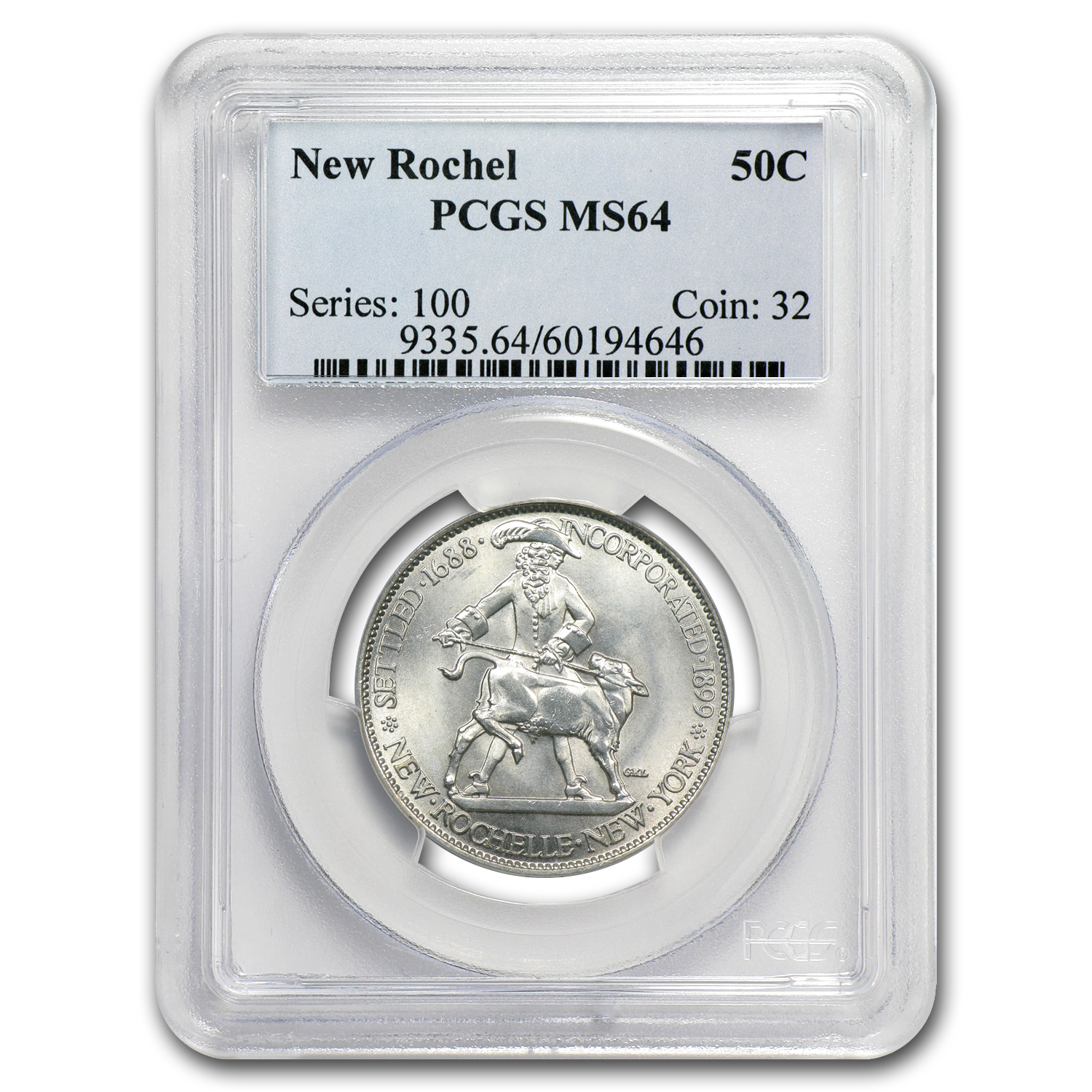 1938 New Rochelle Half MS-64 PCGS