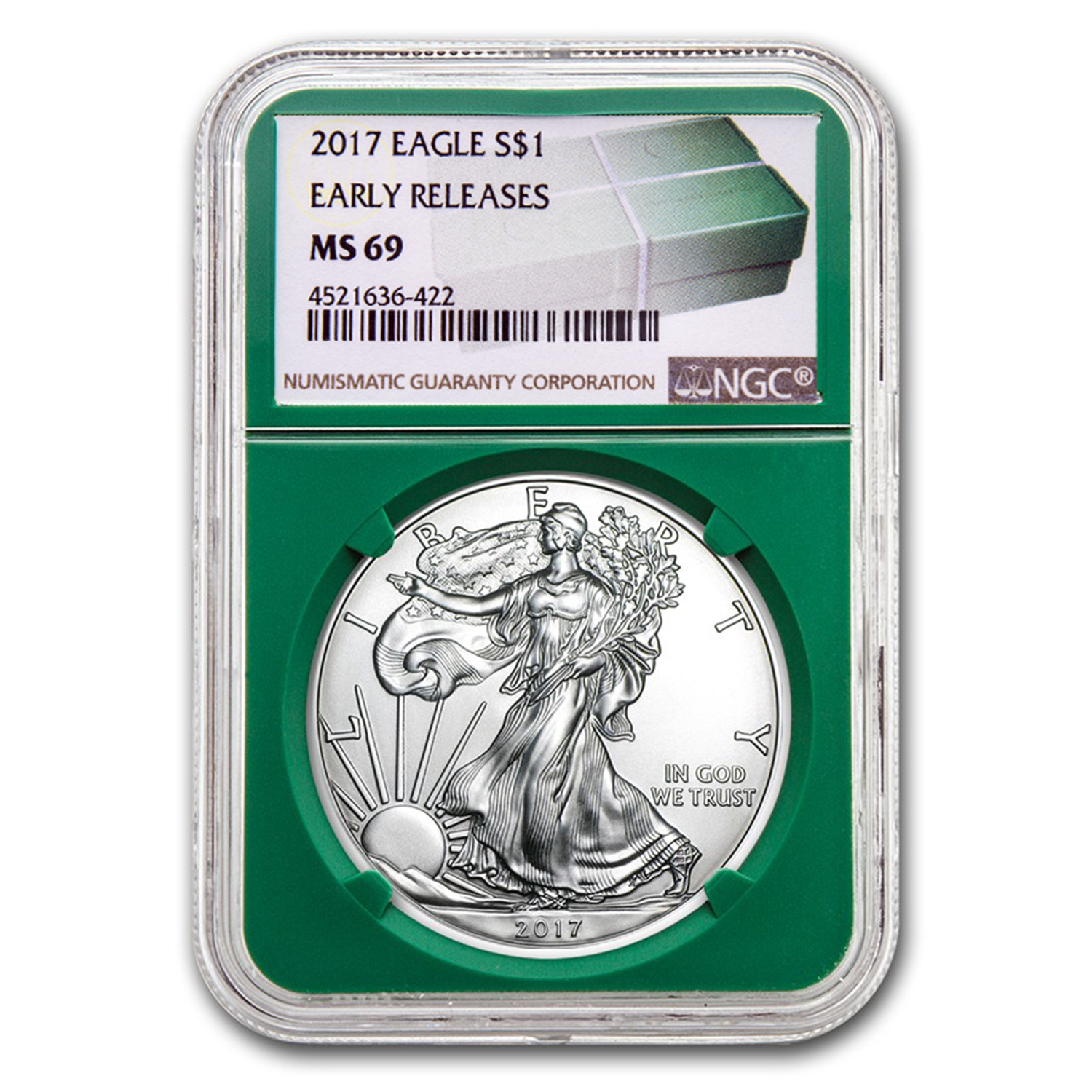 2017 Silver American Eagle MS-69 NGC (ER, Green Holder)