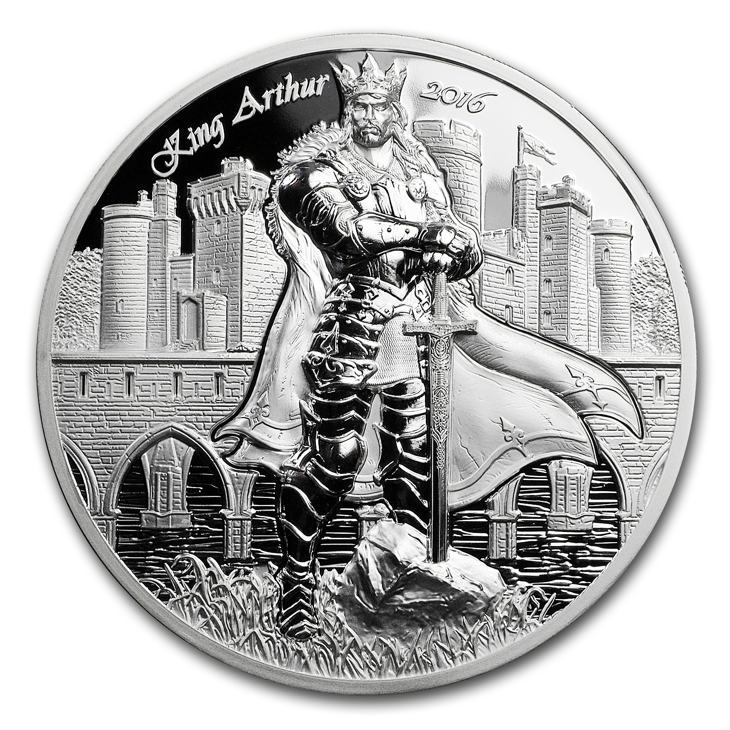 2016 Cook Islands 2 oz Silver Ultra High Relief King Arthur