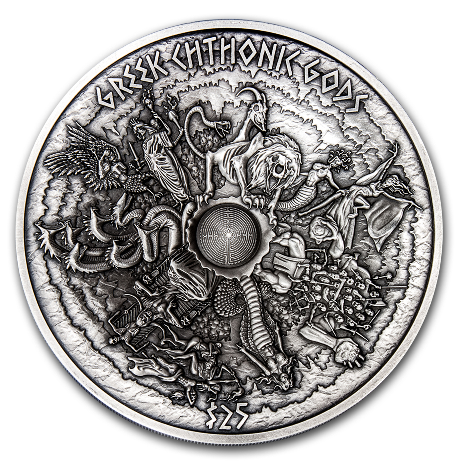2017 Samoa 1 kilo Silver Greek Chthonic Gods Multiple Layer Coin