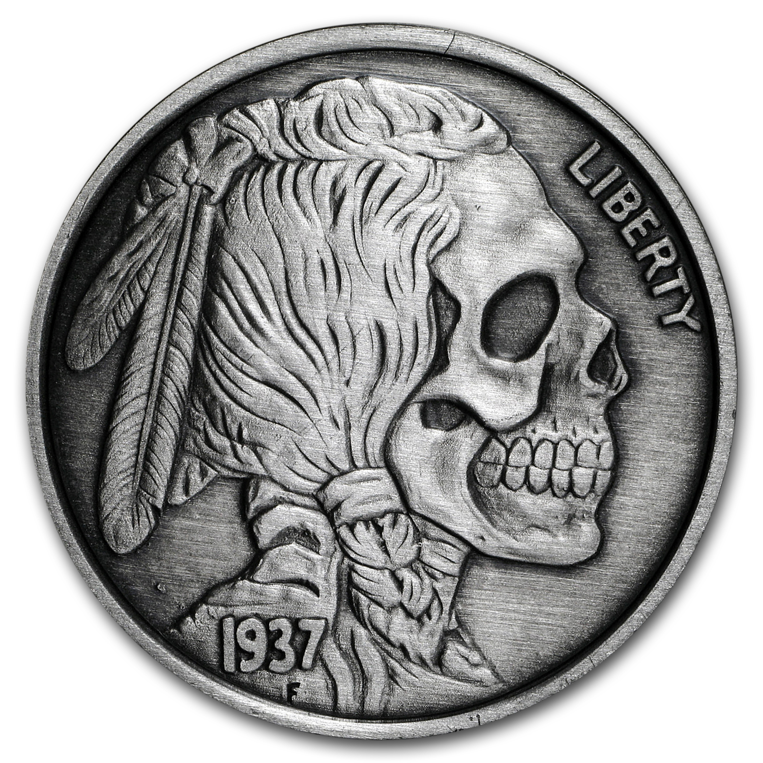 1 oz Silver Antique Round - United Snakes Series (Indian Skull)