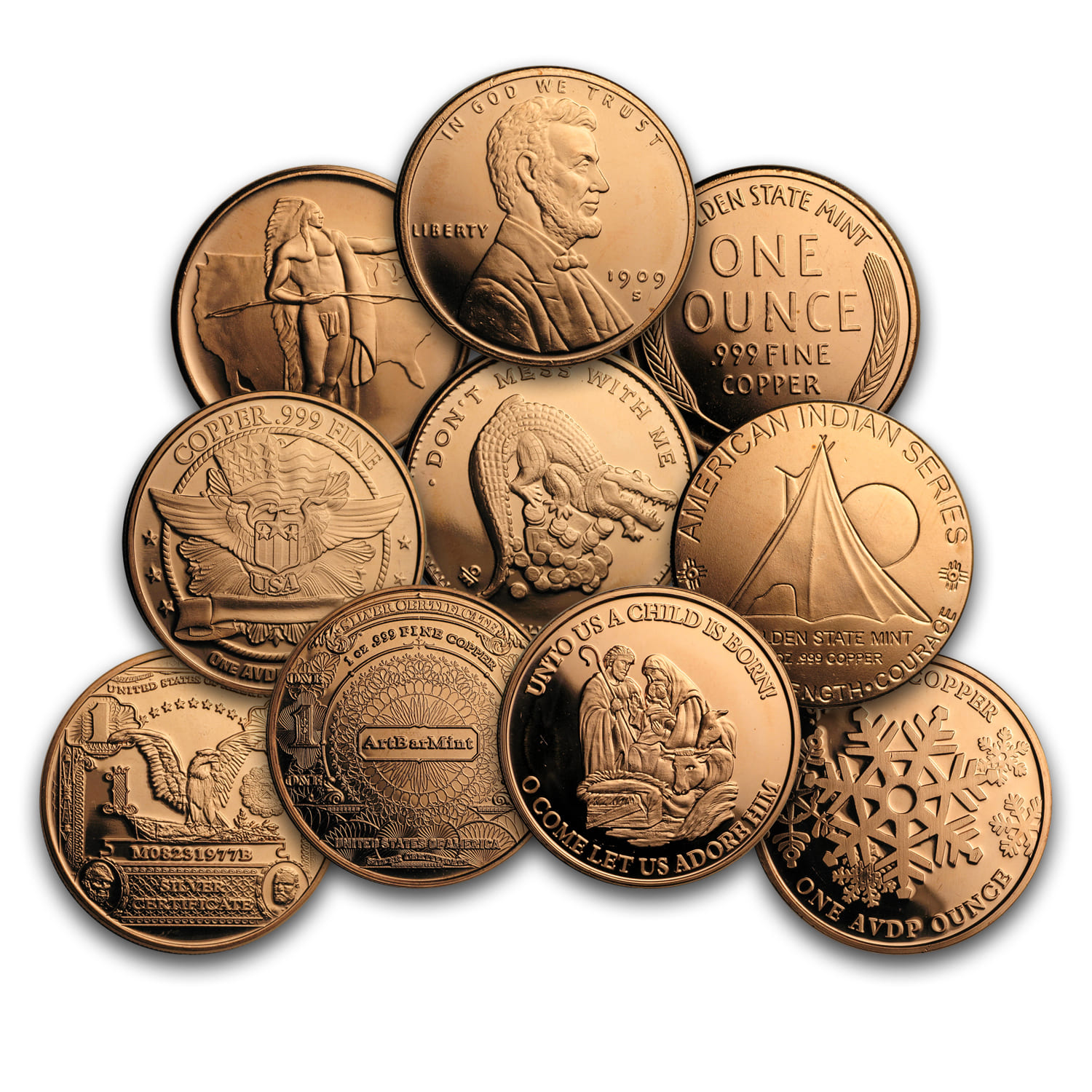1 Oz Copper Round Random Design 1 Oz Copper Rounds Apmex