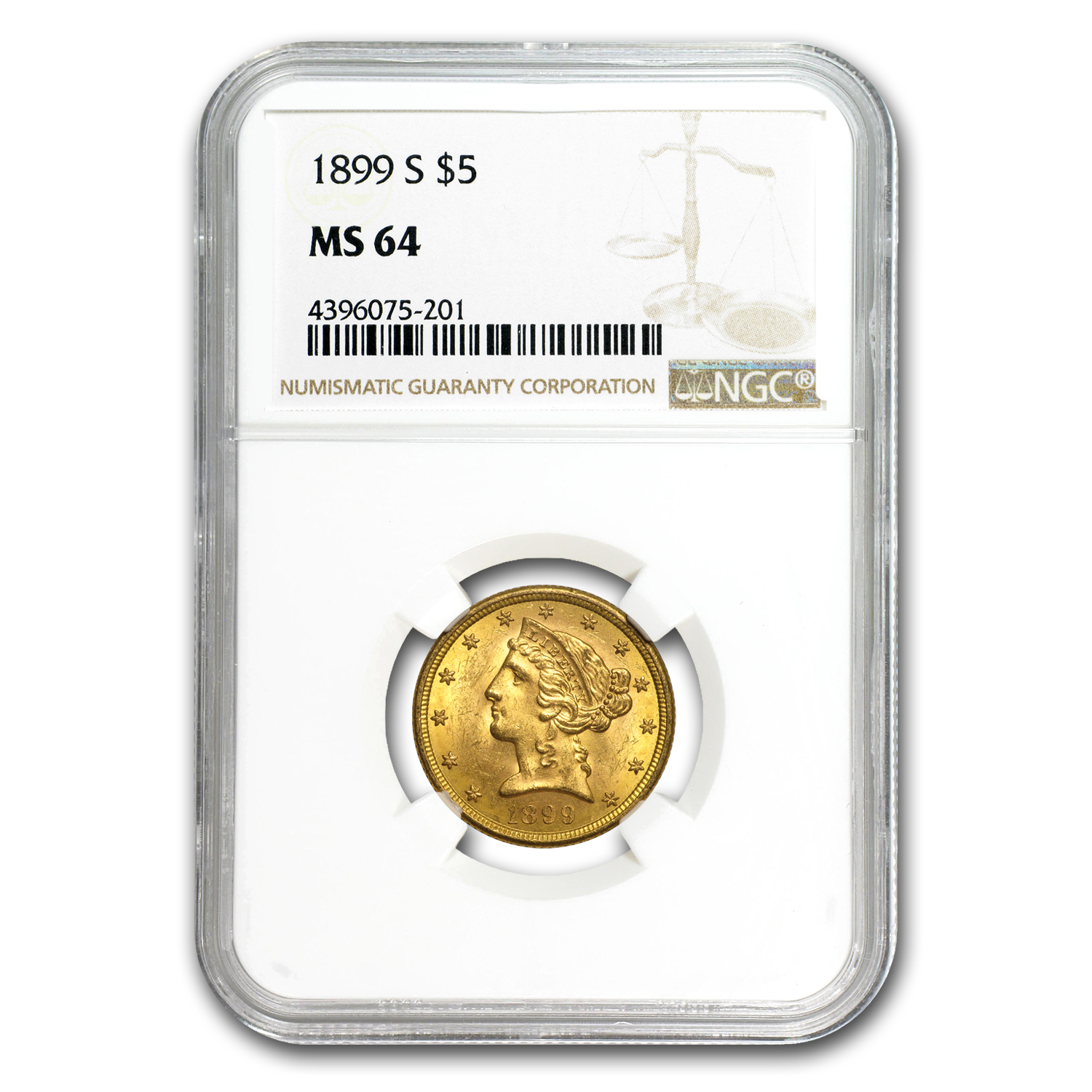 1899-S $5 Liberty Gold Half Eagle MS-64 NGC