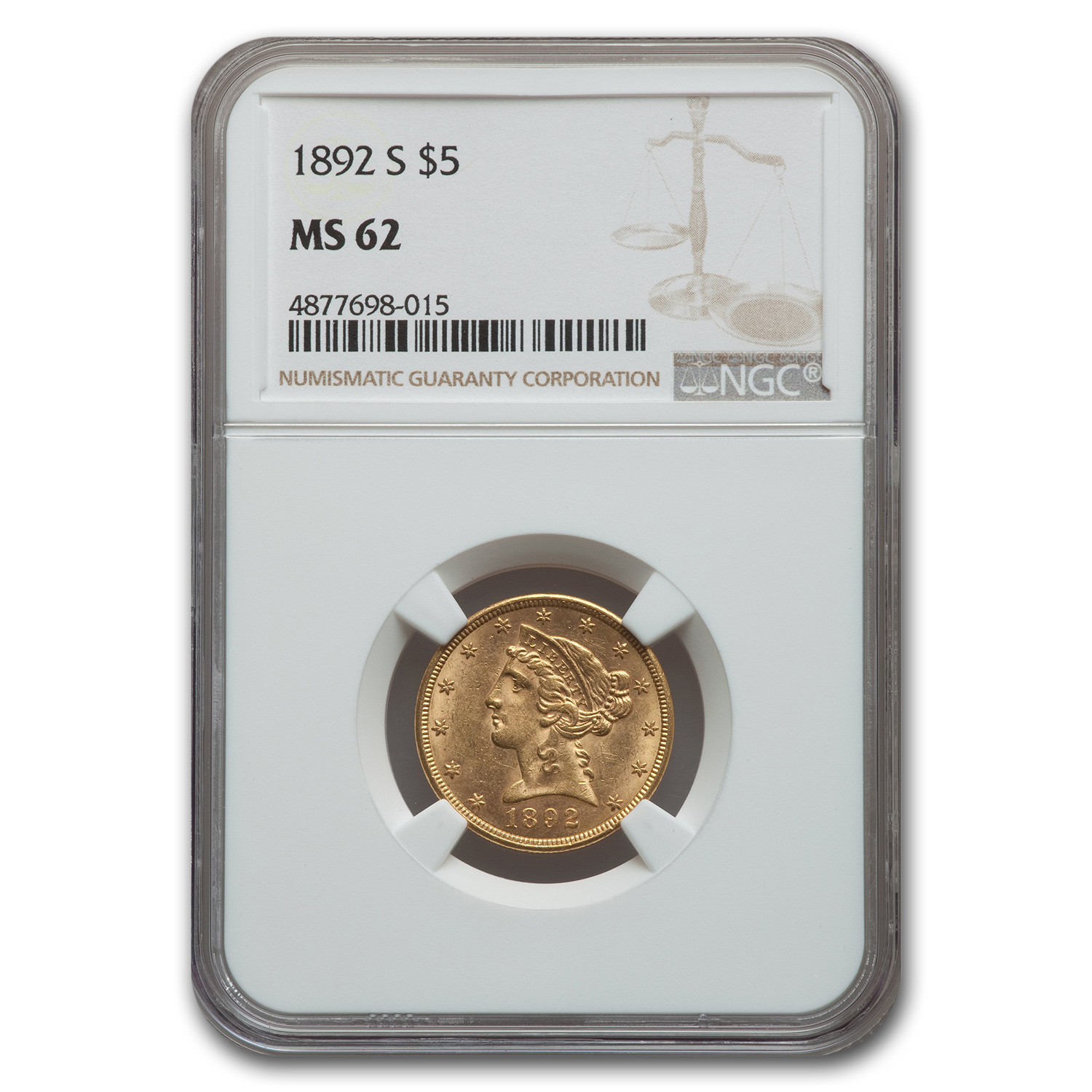 1892-S $5 Liberty Gold Half Eagle MS-62 NGC