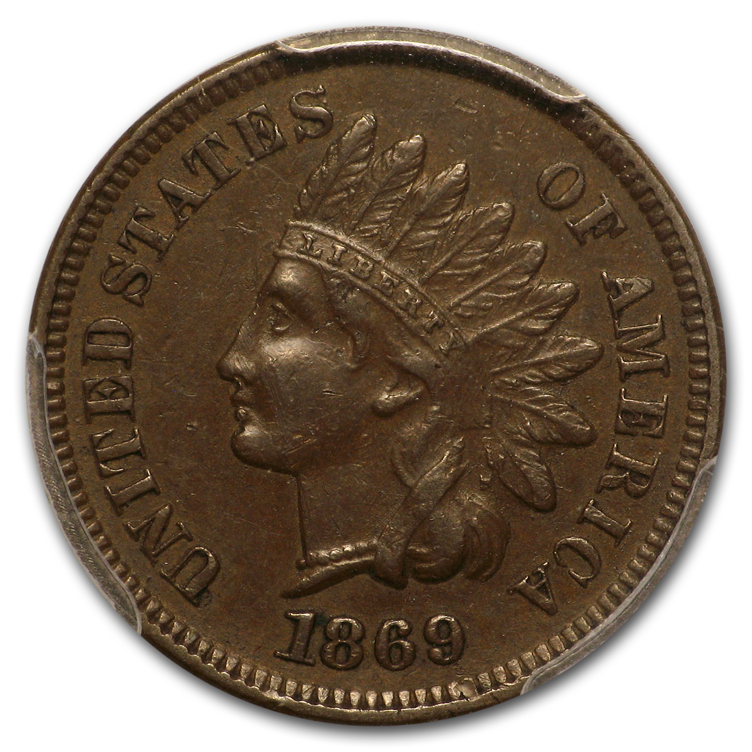 1869 Indian Head Cent AU-50 PCGS