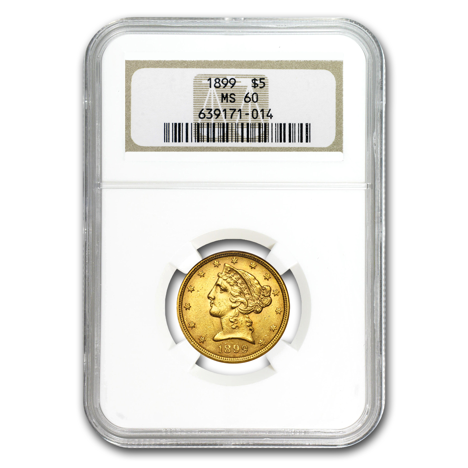 $5 Liberty Gold Half Eagle MS-60 PCGS/NGC