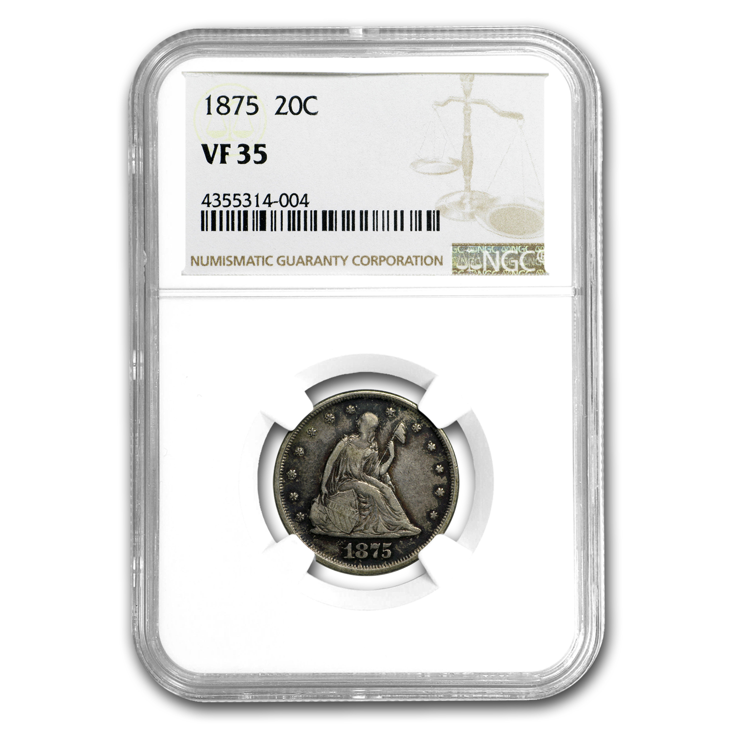 1875 Twenty Cent Piece VF-35 NGC