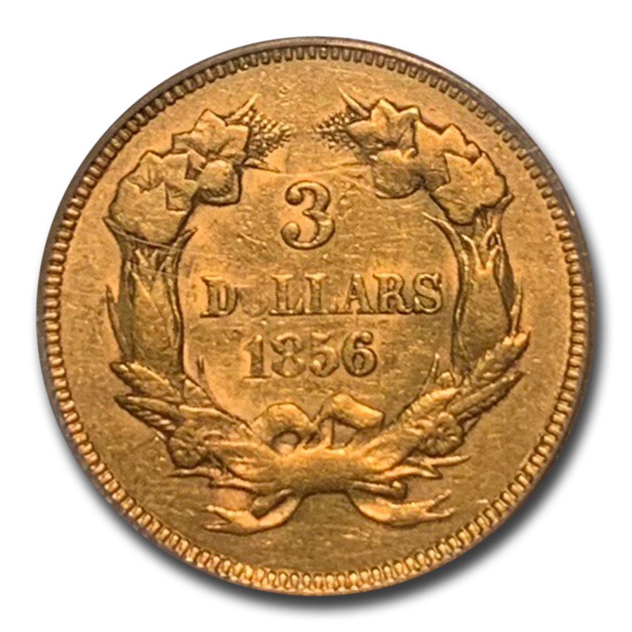 1856 $3 Gold Princess AU-50 PCGS