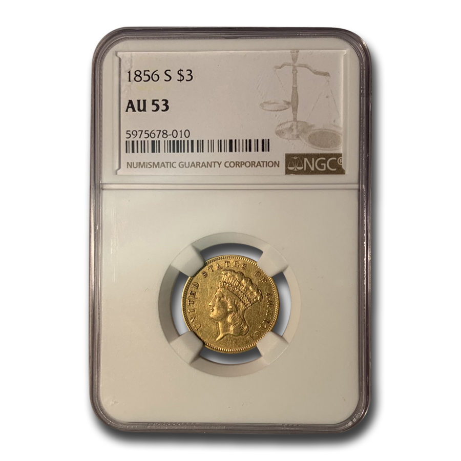 1856-S $3 Gold Princess AU-53 NGC