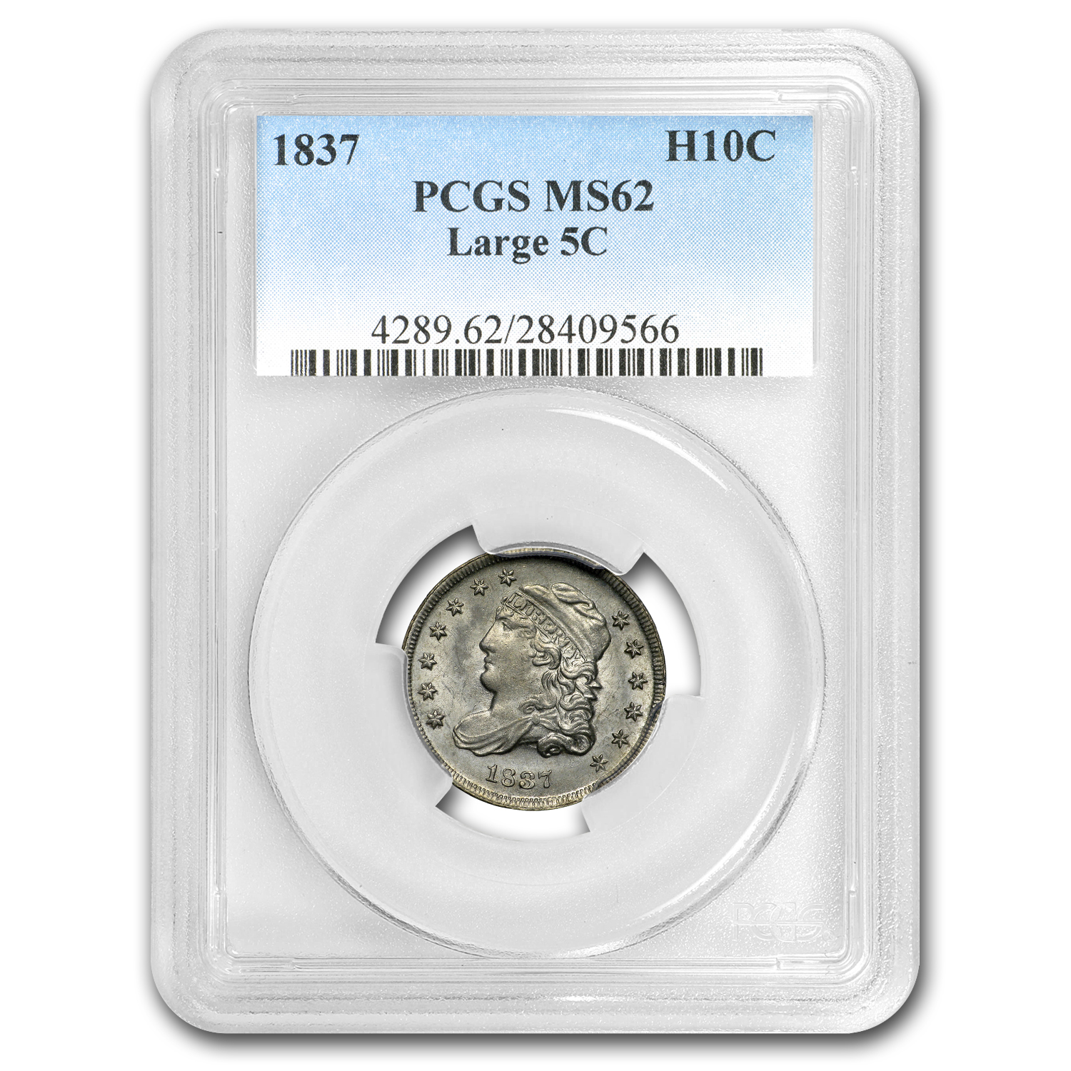 1837 Capped Bust Half Dime MS-62 PCGS