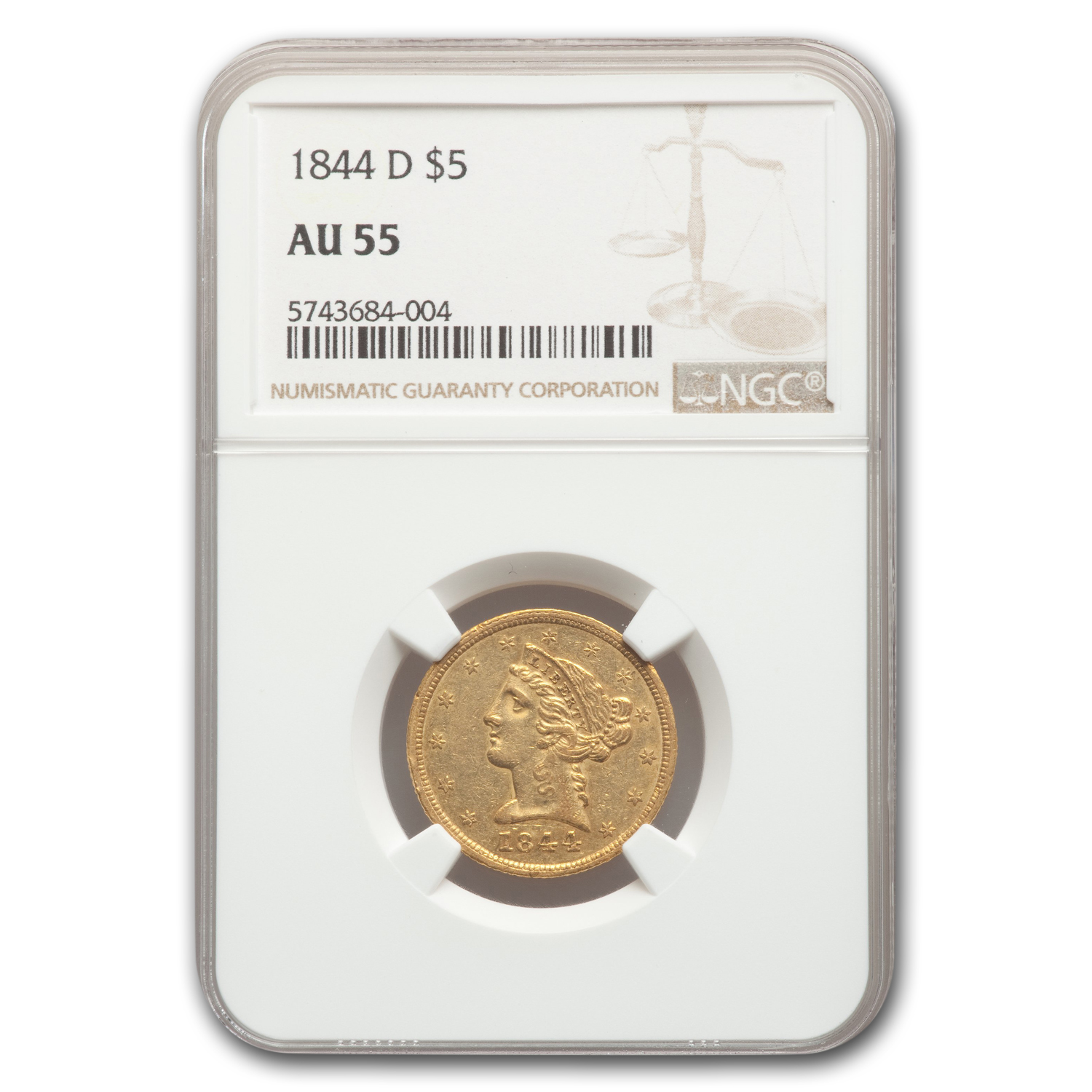 1844-D $5 Liberty Gold Half Eagle AU-55 NGC