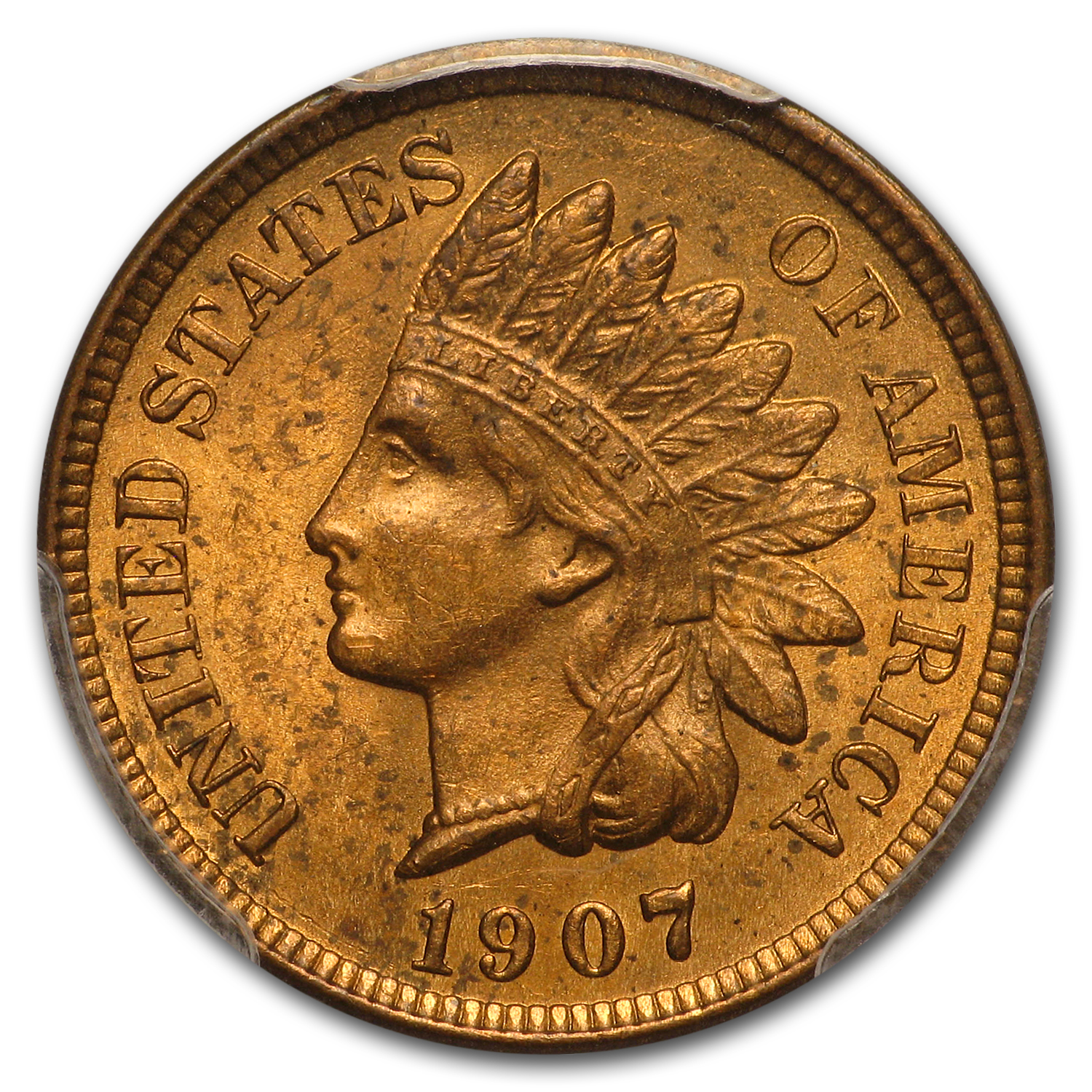 1907 Indian Head Cent MS-63 PCGS (Red)
