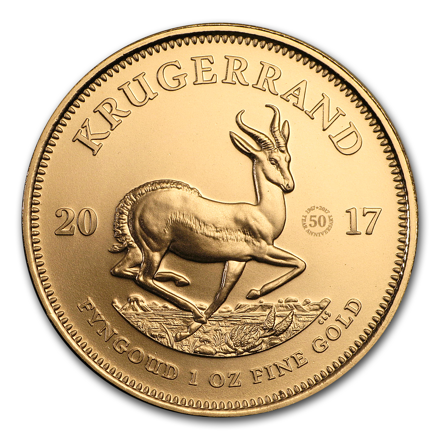 2017 South Africa 1 oz Gold Krugerrand 50th Anniv. BU (Privy)