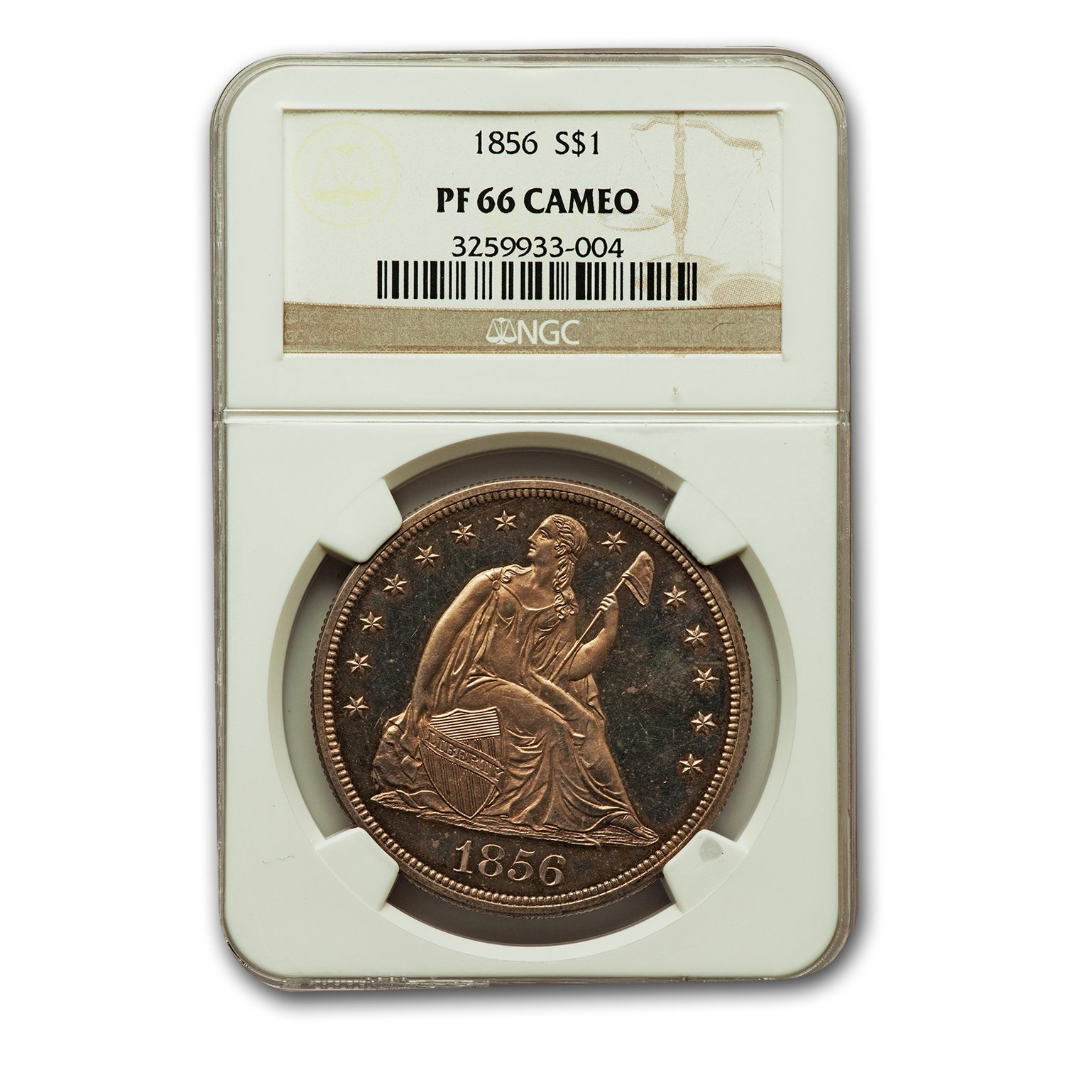 1856 Liberty Seated Dollar PF-66 Cameo NGC