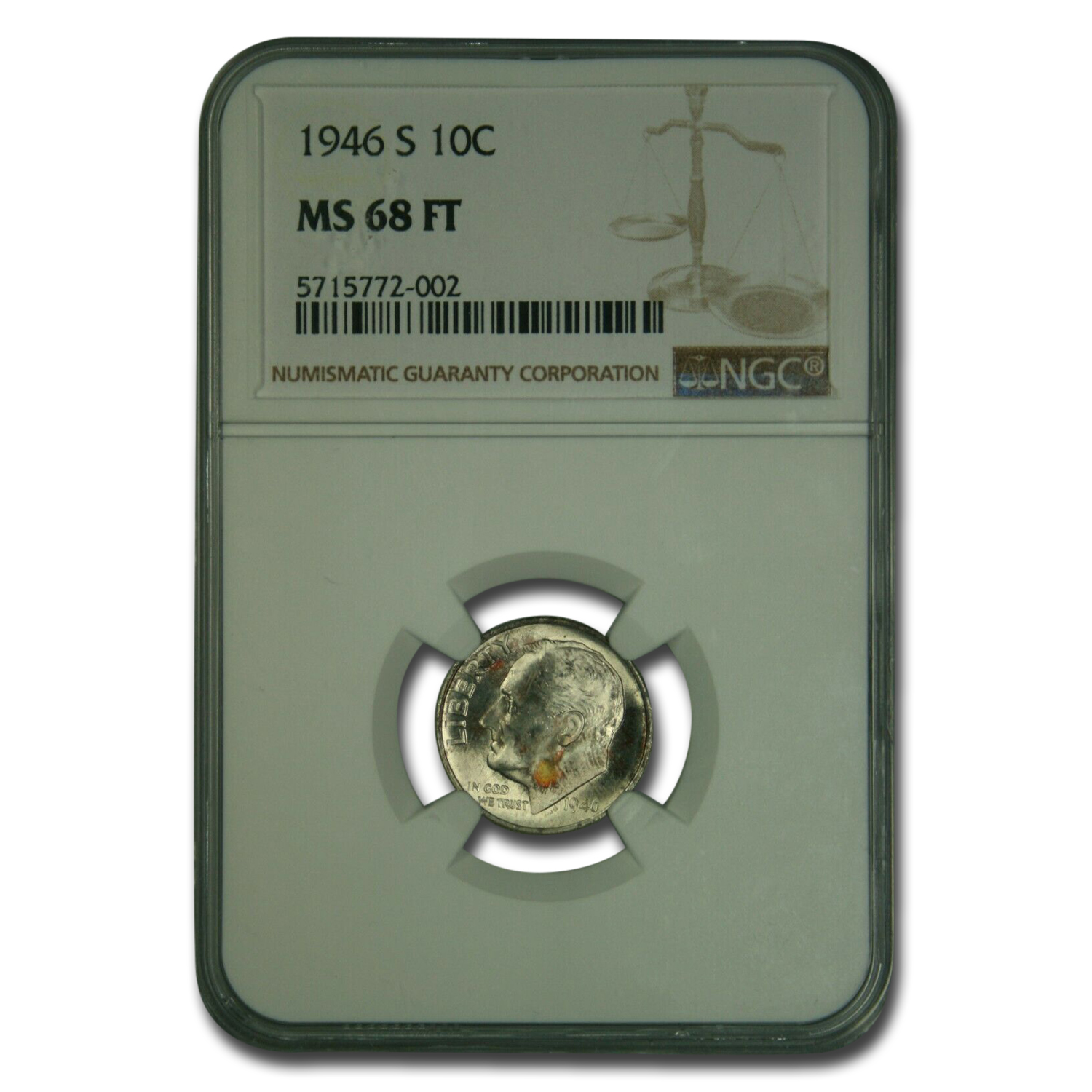 1946-S Roosevelt Dime MS-68 NGC (Full Torch)