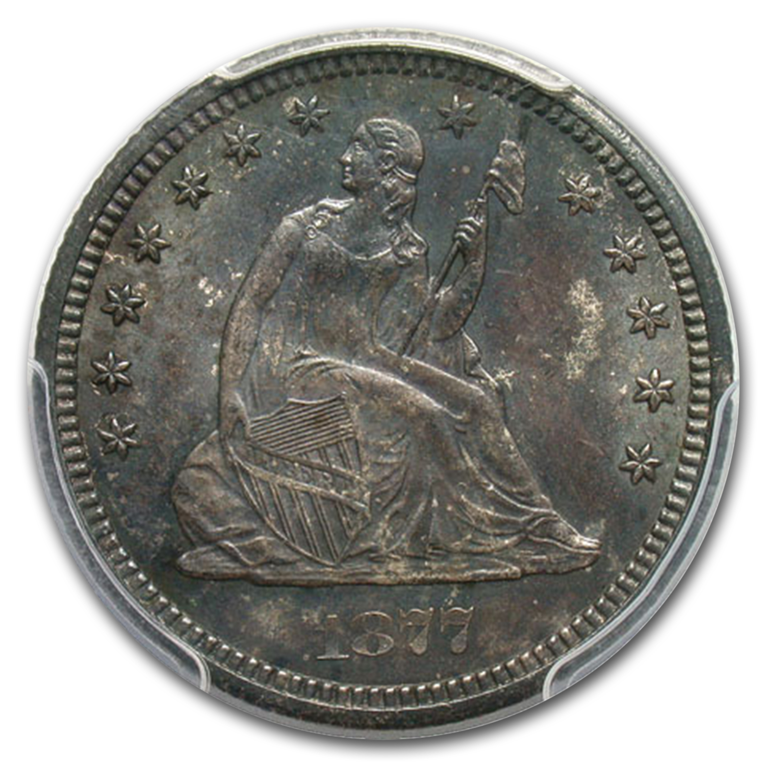 1877-CC Liberty Seated Quarter MS-64 PCGS CAC