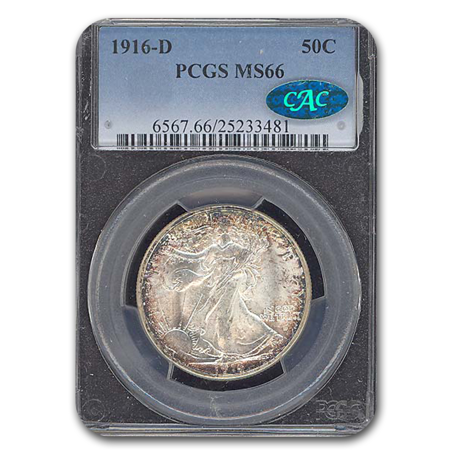 1916-D Walking Liberty Half Dollar MS-66 PCGS CAC