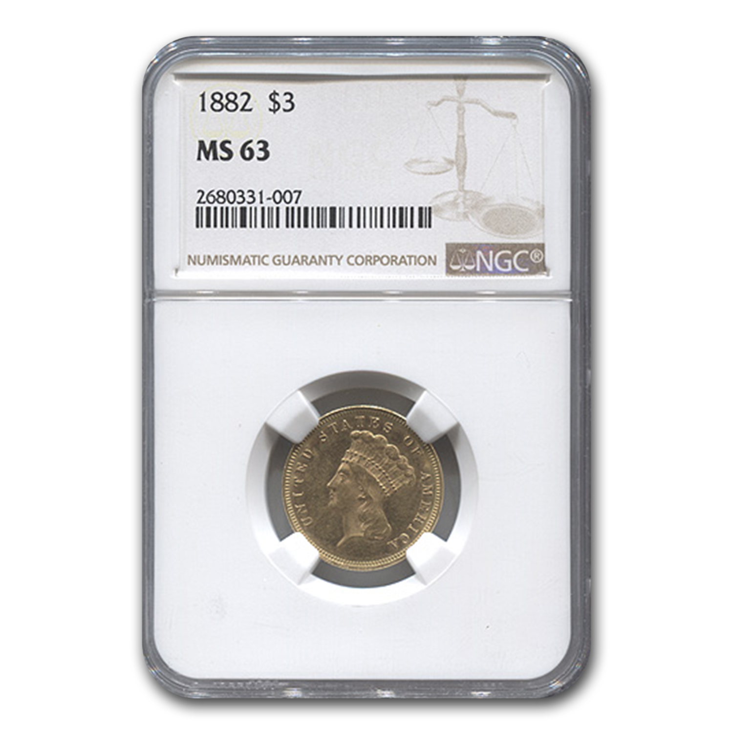 1882 $3 Gold Princess MS-63 NGC