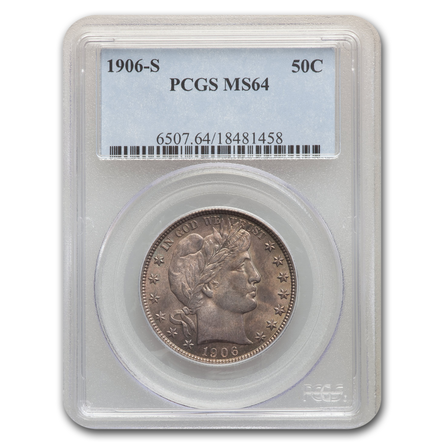 1906-S Barber Half Dollar MS-64 PCGS