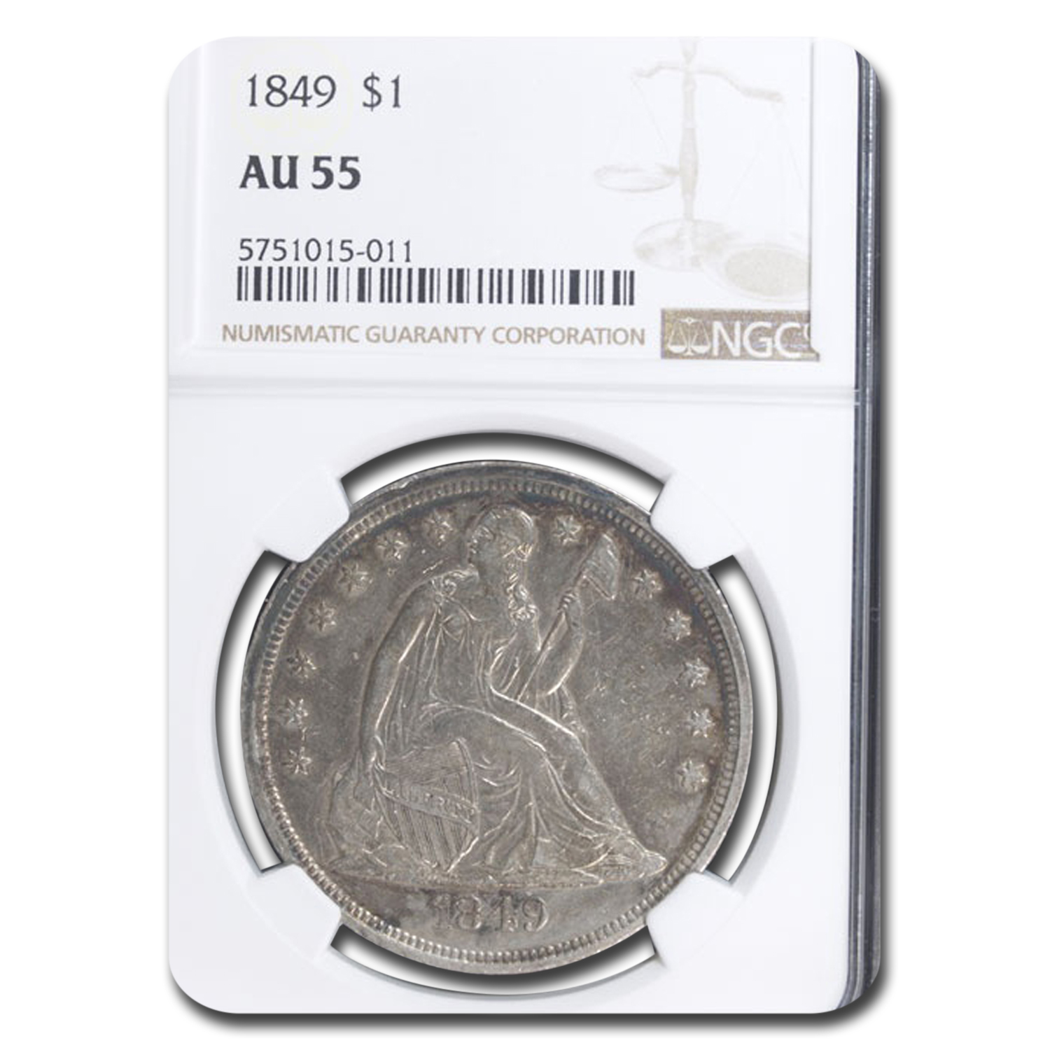 1849 Liberty Seated Dollar AU-55 NGC