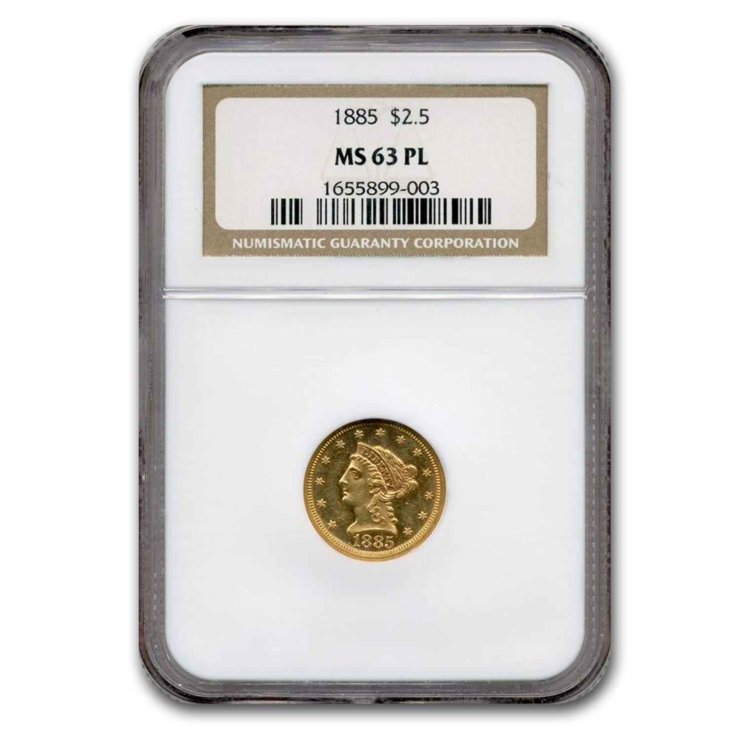 1885 $2.50 Liberty Gold Quarter Eagle MS-63 PL NGC