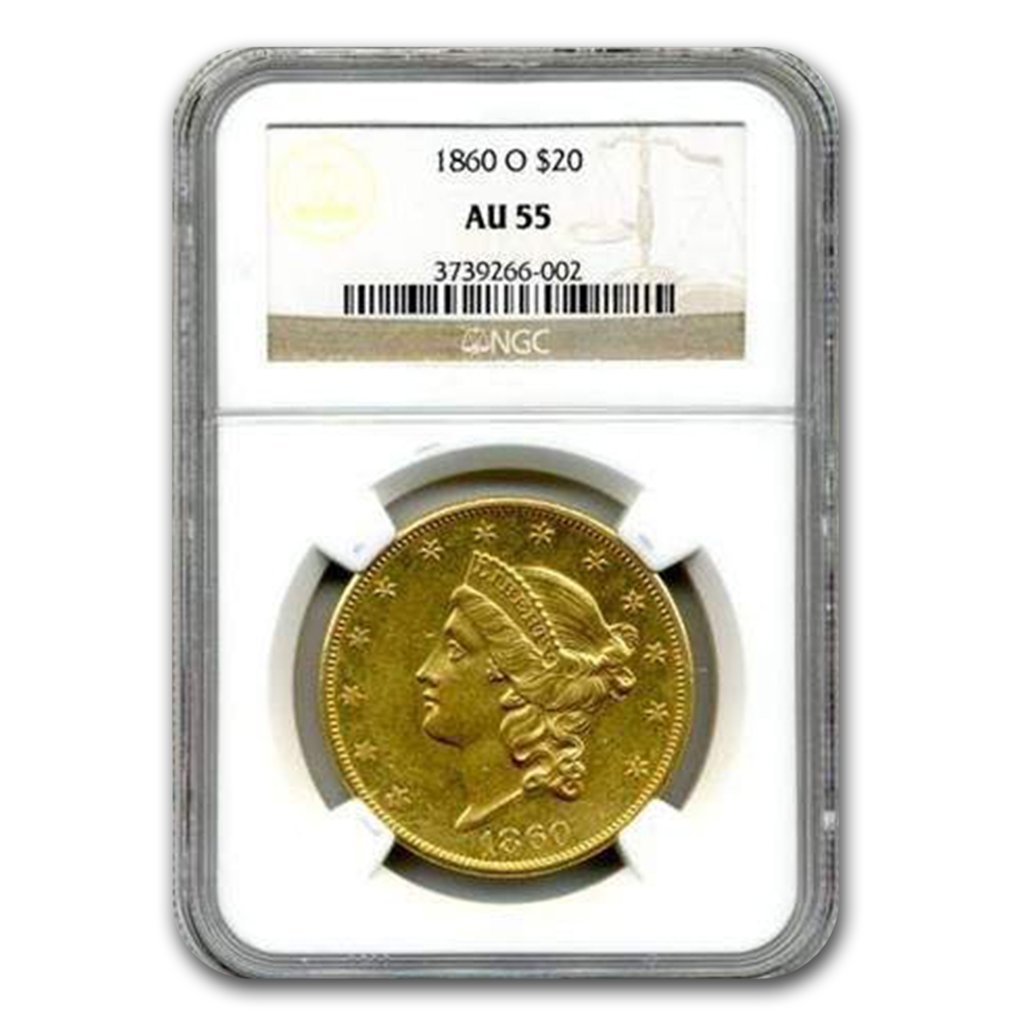 1860-O $20 Liberty Gold Double Eagle AU-55 NGC