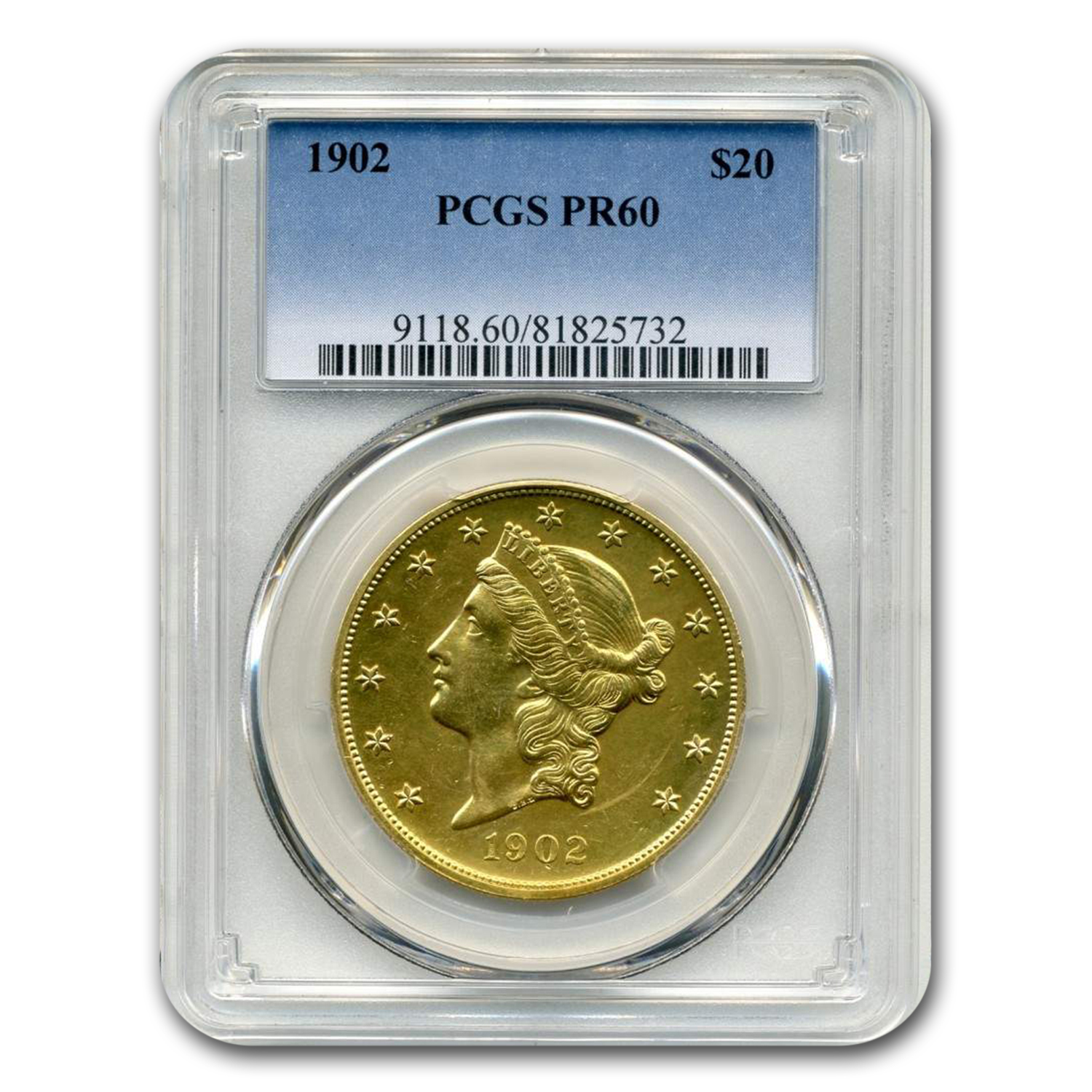 1902 $20 Liberty Gold Double Eagle PR-60 PCGS