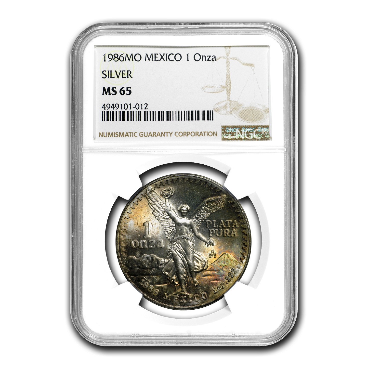 1986 Mexico 1 oz Silver Libertad MS-65 NGC (Toned)