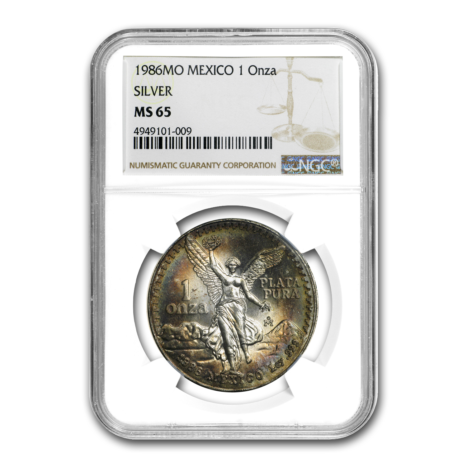 1986 Mexico 1 oz Silver Libertad MS-65 NGC (Beautiful Toned Obv)