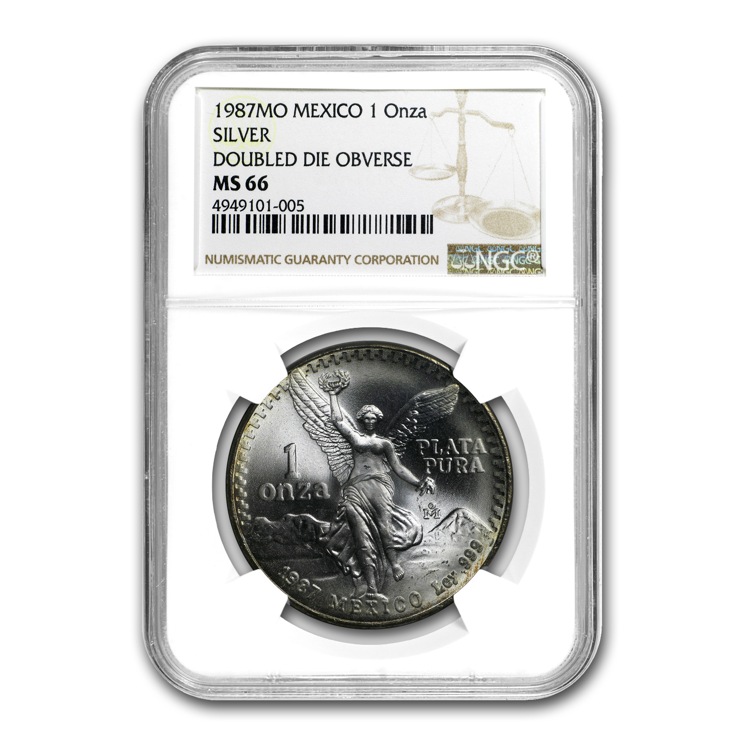 1987 Mexico 1 oz Silver Libertad MS-66 NGC (Double Die Obverse)