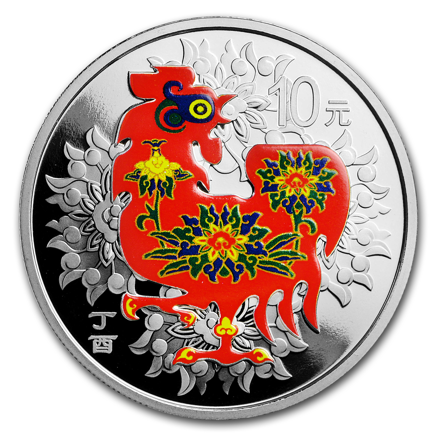 2017 China 1 oz Silver Rooster Proof (Colorized, w/Box & COA)