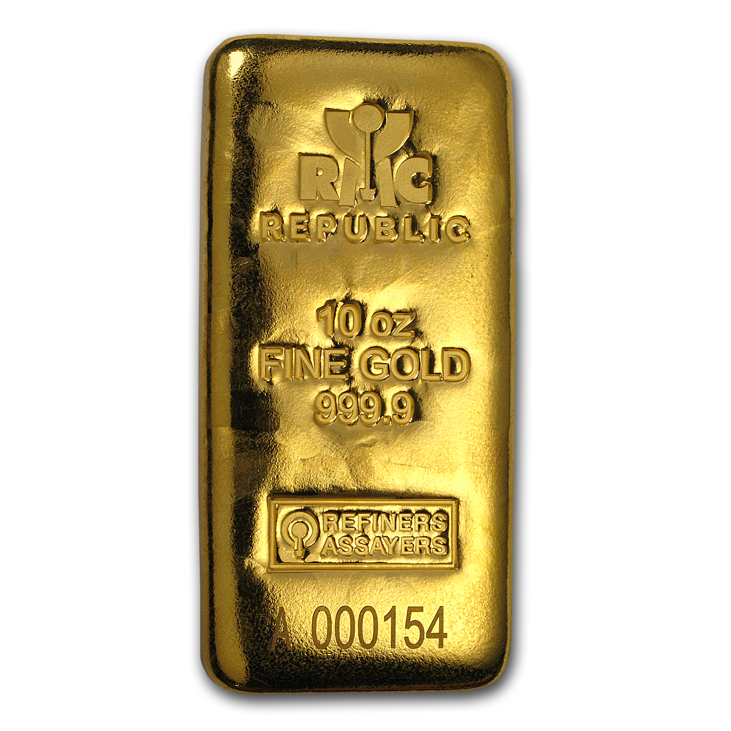 10 oz Gold Bar - Republic Metals Corporation (Cast w/Assay)