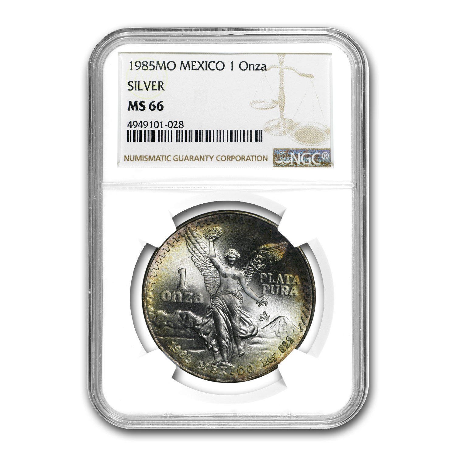 1985 Mexico 1 oz Silver Libertad MS-66 NGC (Toned)