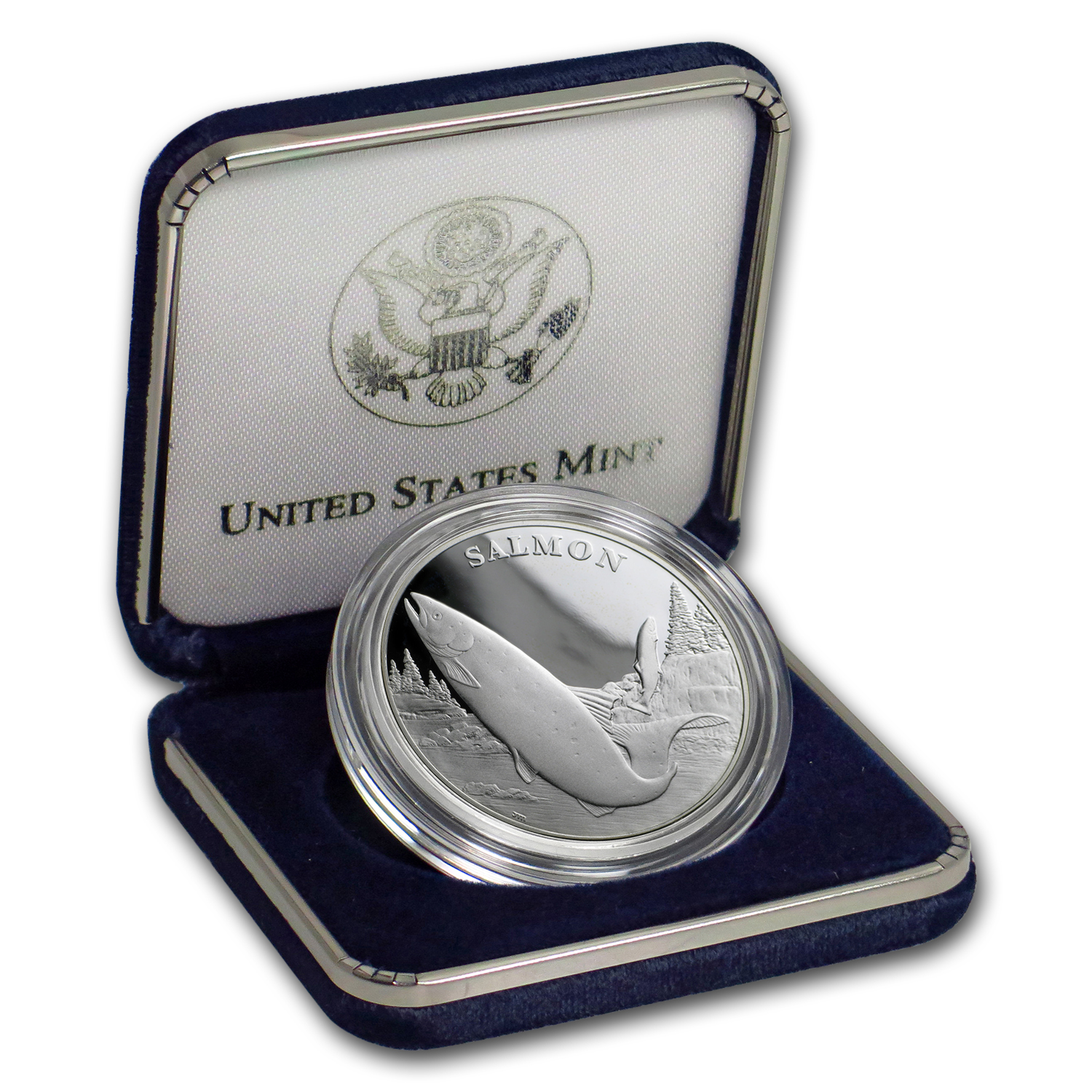 2003 National Wildlife Refuge System Proof Silver Medal  Salmon