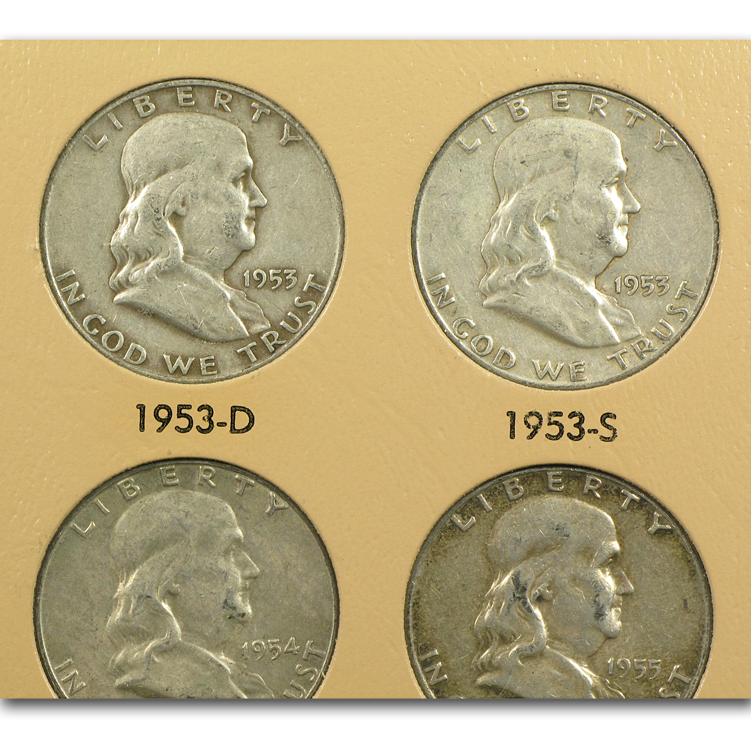 1948-1963 Franklin Half Dollar Set Avg Circ (Dansco Album)