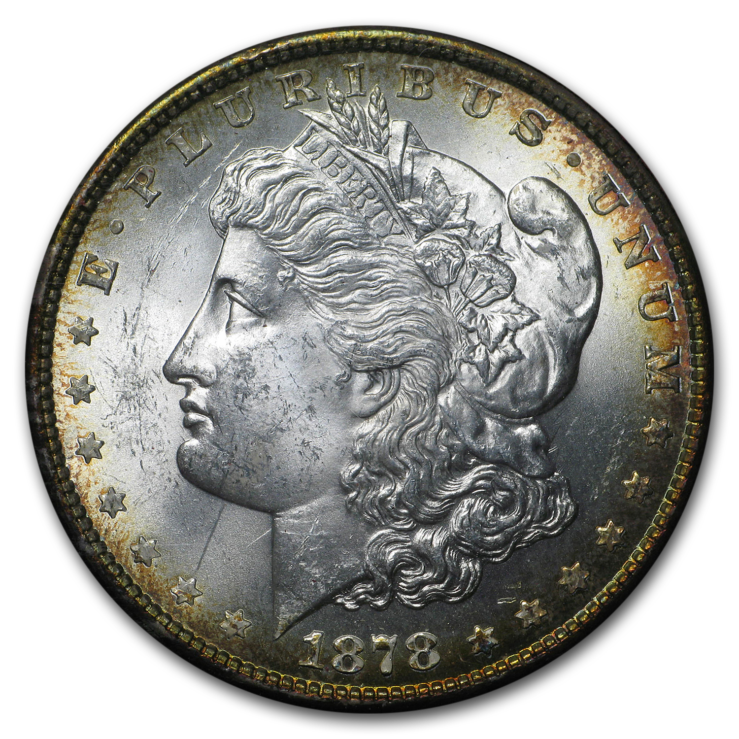 1878 8 Tailfeather Morgan Dollar MS-63 NGC (Paramount Holder)