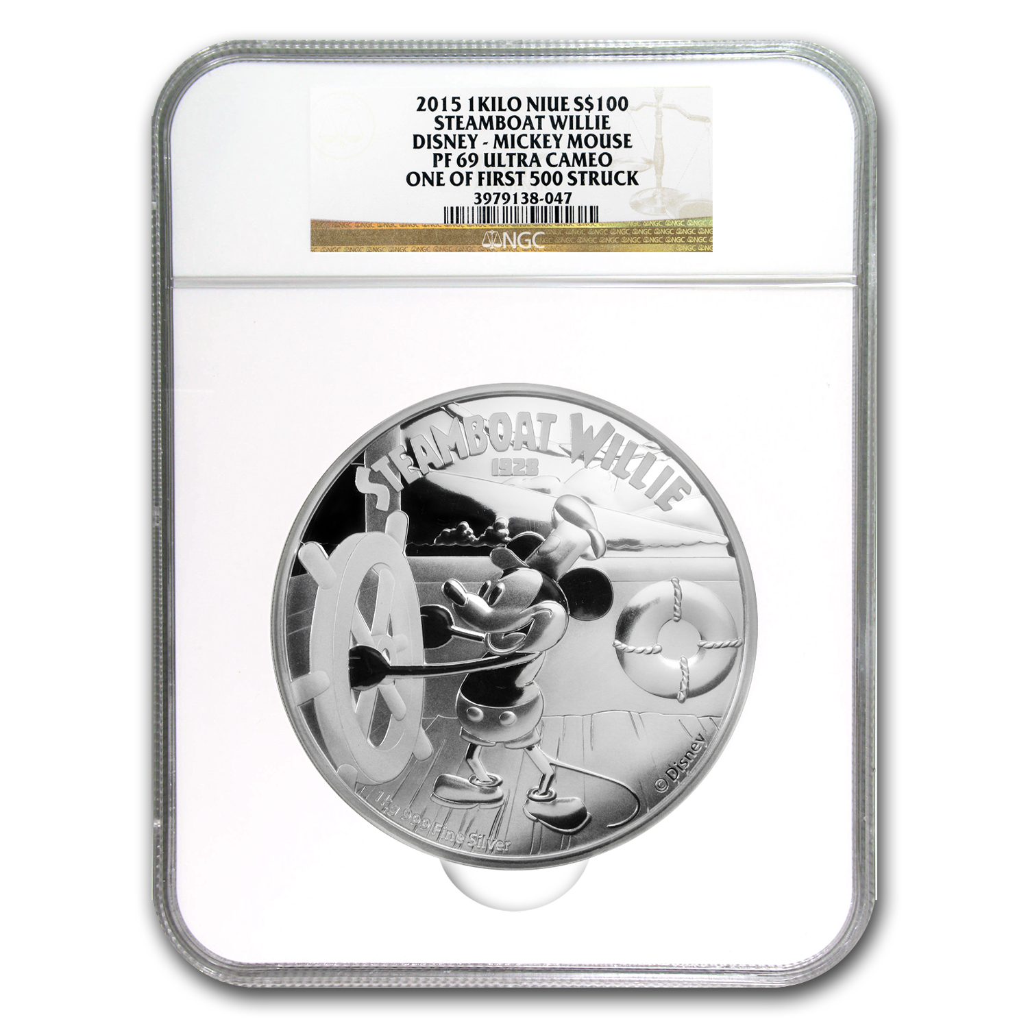 2015 Niue 1 kilo Silver $100 Disney Steamboat Willie PF-69 NGC
