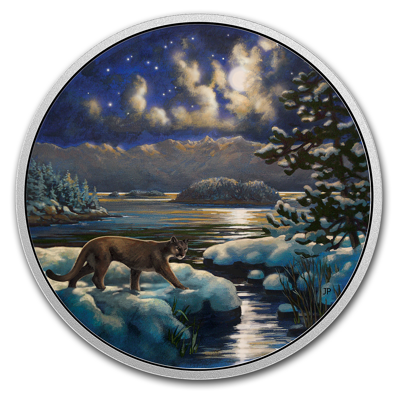 2017 Canada 2 oz Silver $30 Animals in the Moonlight: Cougar